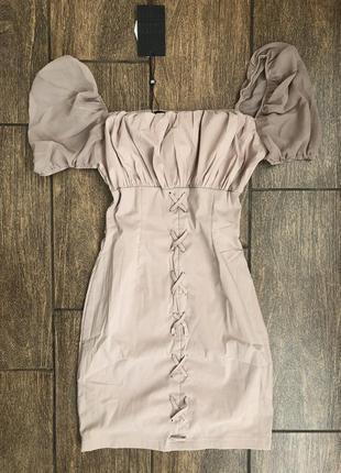 Новое легкое летнее платье с бирками с рукавом фонарик брендовое со шнуровкой naanaa