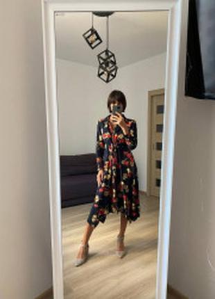 Платье рубашка принт цветы ткань 100% натуральный хлопок штапель