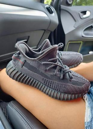 Шикарные кроссовки унисекс adidas yeezy boost 350 v2 black наложка