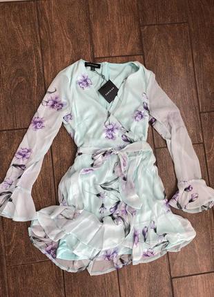 Новое летнее летящее платье с бирками легкое с поясом брендовое parisian collection