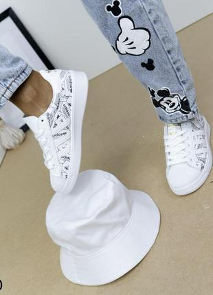 Женские кроссовки кожаные белые, женские кроссовки на массивной подошве, молодежные кроссовки экокожа, базовые кроссовки кожаные2 фото