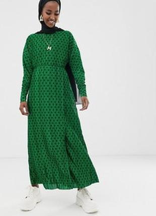 Шикарное длинное платье в горох ткань рубчик