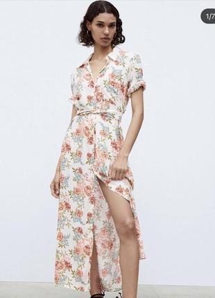 Платье миди платье рубашка в цветочный принт zara оригинал