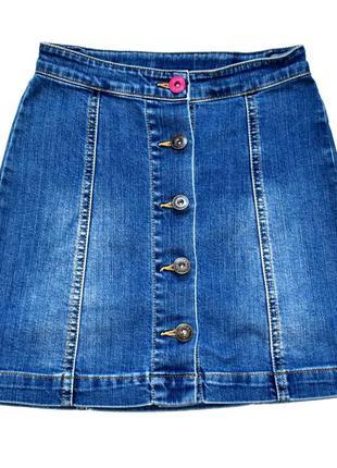 Joules джинсовая юбка на пуговицах-кнопках . 7-8 лет