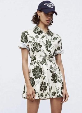 Платье рубашка мини с поясом цветочный принт zara оригинал