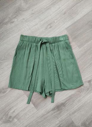 Зеленые шорты на резинке свободные летние шорты zara reserved