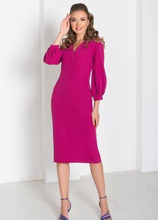 Малиновое платье , платье с пышными рукавами , платье миди , красное платье 48 размер