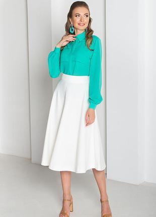 Голубая блуза , блуза с пелериной , офисная блуза , рубашка с длинными рукавами