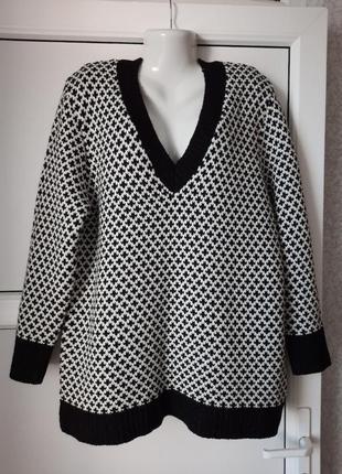 """Женский пуловер """"гусиная лапка"""", тёплый и мягкий. оверсайз. 🦚peacocks."""
