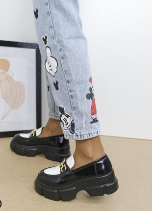 Шикарные туфли кожаные на высокой платформе, женские туфли на массивной подошве, хитовые туфли на тракторной подошве8 фото