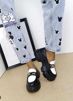 Шикарные туфли кожаные на высокой платформе, женские туфли на массивной подошве, хитовые туфли на тракторной подошве