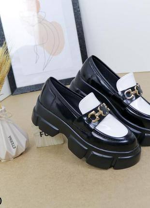 Шикарные туфли кожаные на высокой платформе, женские туфли на массивной подошве, хитовые туфли на тракторной подошве3 фото