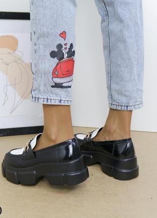 Шикарные туфли кожаные на высокой платформе, женские туфли на массивной подошве, хитовые туфли на тракторной подошве9 фото