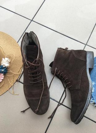Замшевые кожаные сапоги ботинки сапожки