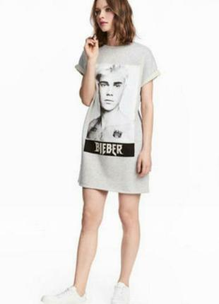 Платье футболка джастин бибер из плотного материала