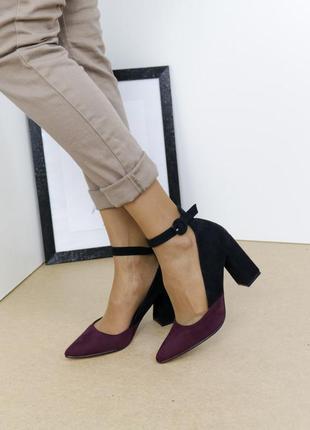 Шикарные туфли замшевые на высоком каблуке, женские туфли на устойчивом каблуке, базовые туфли замшевые чёрные