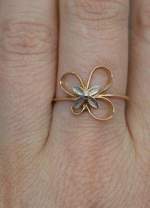 Золота #каблучка #кільце #трилисник #кольцо золото клевер на удачу #585