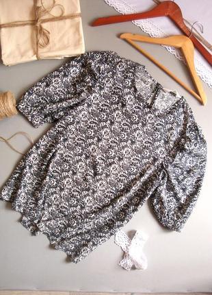 Натуральная приятная к телу блуза черно белая с коротким рукавом