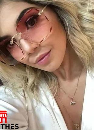 Женские солнцезащитные очки без оправы цвет коричневый