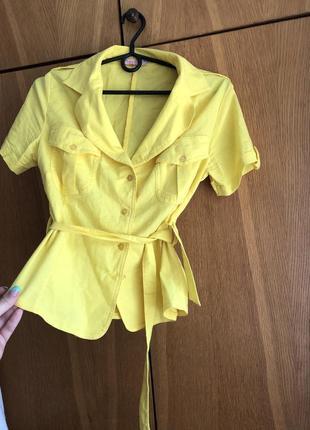 Новая хлопок легкая рубашка блуза блузка с поясом