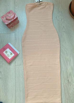 Бандажное платье миди нежно розового цвета