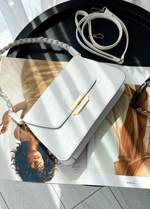 Белая сумка через плечо сумочка клатч кроссбоди