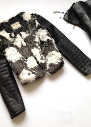 Бомбезная 😍 меховая куртка с кожаными рукавами жилетка с рукавами / меховая куртка