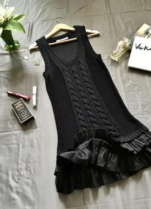 Платье коттоновое вязанное, платье майка с рюшами