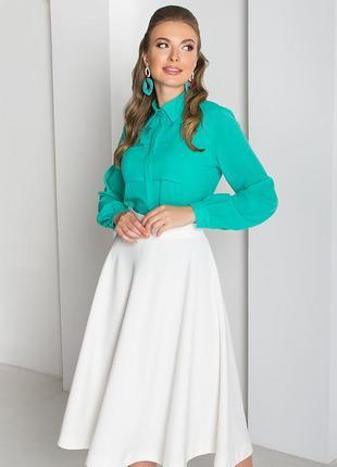 Беспл. доставка стильная блуза в деловом стиле 5 цветов, р. с 44 до 52