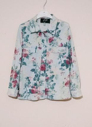 Куртка в цветочный принт (как джинсовка)