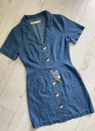 Платье джинс деним на пуговицах asos