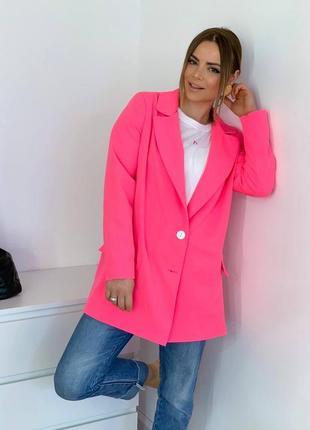 Пиджак удлинённый розовый