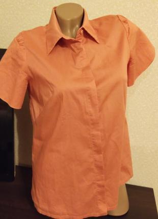 Коралловая блузка блуза с красивым рукавом