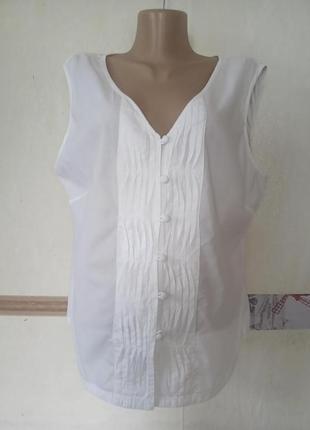 Легкая натуральная блузка топ с защипами р.16