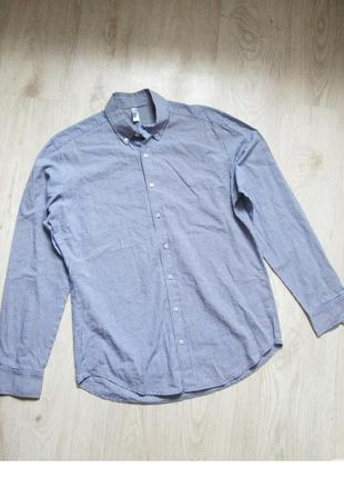 Рубашка в мелкую синюю клетку. пог 57 см. м-l