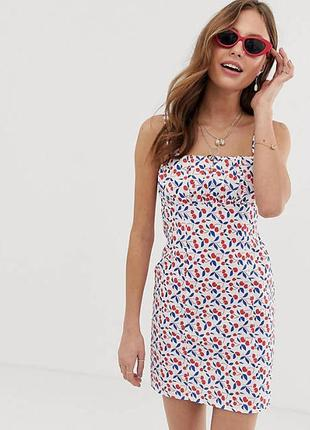Натуральное нежное платье в вишенки! лён, из льна! asos design! шик!