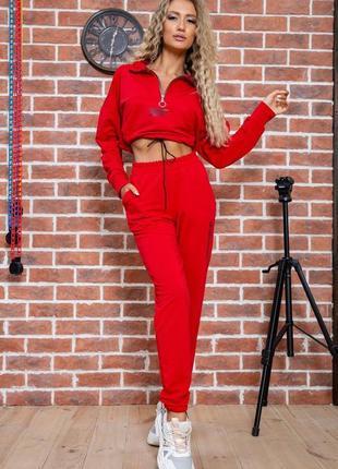 Женский спортивный костюм двойка штаны на высокой посадке с карманами кофта укороченая красный модный удобный красивый