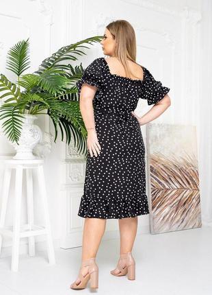 Платье горошек черный цвет5 фото