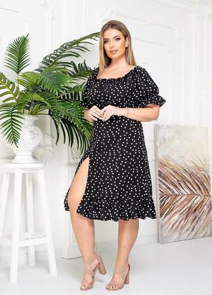 Платье горошек черный цвет9 фото