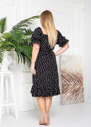 Платье горошек черный цвет3 фото