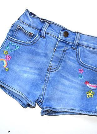 E-vie джинсовые голубые шорты с вышивкой. 5-6 лет
