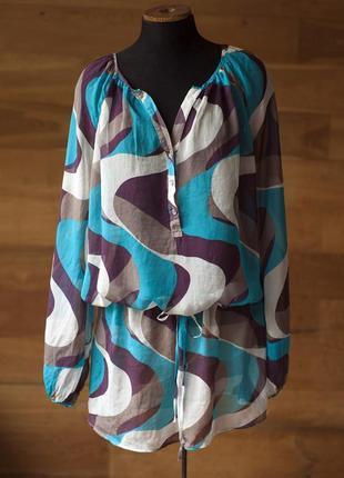 Батальная шелковая серо голубая блузка женская jasper conran, размер xl