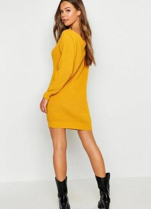 Новый горчичный джемпер свитер  платье туника оверсайз