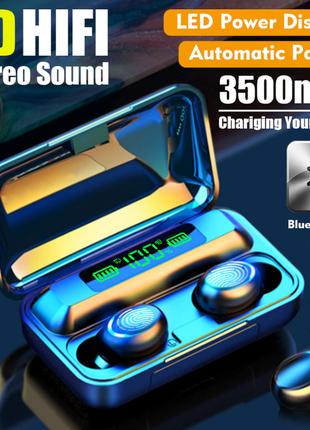 Беспроводные наушники с микрофоном и внешним аккумулятором. tws bth-f9-5. черные