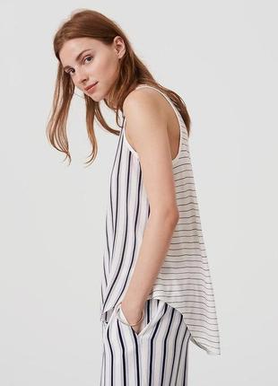 Майка блуза комбинированный материал в полоску loft ann taylor / большая распродажа