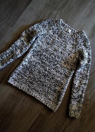Новый свитер-джемпер-пуловер крупной вязки меланж с металлизированной нитью
