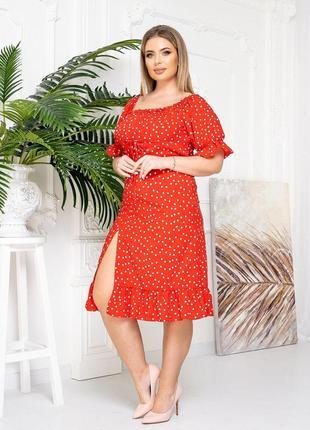 Платье в горошек красный цвет5 фото