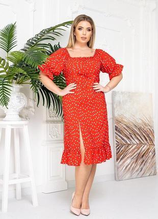 Платье в горошек красный цвет4 фото