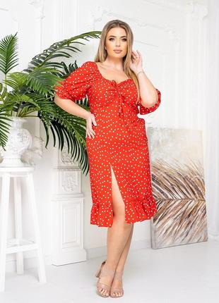 Платье в горошек красный цвет
