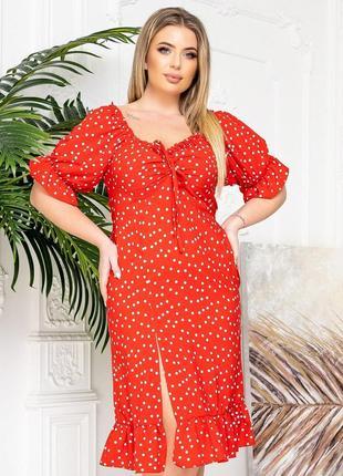 Платье в горошек красный цвет2 фото